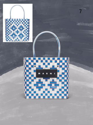 MARNI Totes Other Plaid Patterns Casual Style Unisex Totes 9