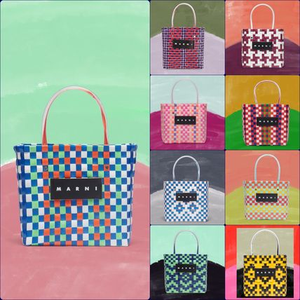 MARNI Totes Other Plaid Patterns Casual Style Unisex Totes