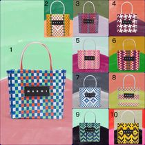 MARNI MARNI MARKET Other Plaid Patterns Casual Style Unisex Totes