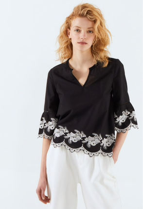 Short Plain Cotton Puff Sleeves Formal Style  Cropped