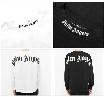 Palm Angels Long Sleeve Crew Neck Pullovers Unisex Street Style Long Sleeves Cotton 3