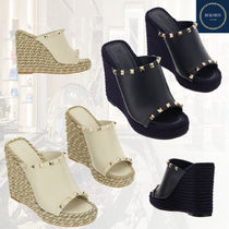 VALENTINO Casual Style Studded Street Style Plain Leather Mules