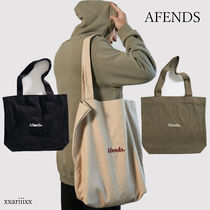 AFENDS Casual Style Canvas Plain Logo Totes