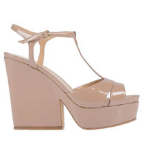 Sergio Rossi Open Toe Platform Casual Style Plain Leather Block Heels