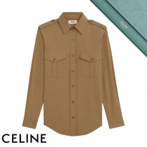 CELINE Casual Style Long Sleeves Plain Cotton Medium Party Style