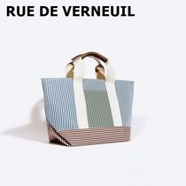 RUE DE VERNEUIL Stripes Casual Style Calfskin Canvas Blended Fabrics A4 2WAY