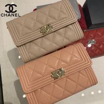 CHANEL BOY CHANEL Unisex Calfskin Plain Leather Folding Wallet Logo