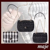 maje Gingham Casual Style 2WAY Leather Party Style Office Style