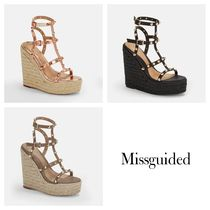 Missguided Open Toe Casual Style Studded Plain Elegant Style