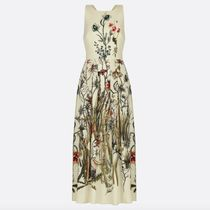 Christian Dior Flower Patterns Silk Sleeveless Flared Long Party Style