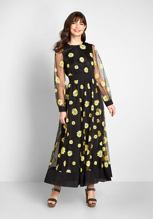 Crew Neck Flower Patterns Casual Style Maxi A-line