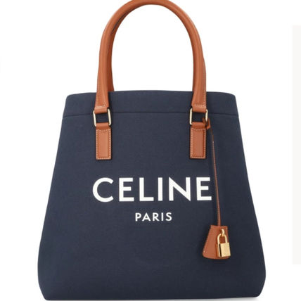 CELINE Horizontal Cabas Casual Style Calfskin Canvas Street Style Leather