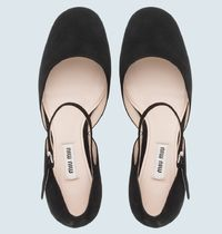 MiuMiu Round Toe Casual Style Suede Blended Fabrics Studded