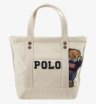 POLO RALPH LAUREN Casual Style Unisex Canvas Studded Street Style Logo Totes