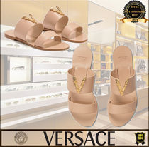 VERSACE Open Toe Casual Style Plain Leather Elegant Style Logo