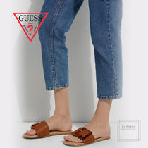 Guess Open Toe Round Toe Casual Style Faux Fur Blended Fabrics