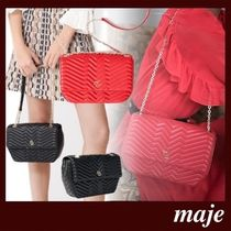 maje Casual Style Lambskin 2WAY Leather Party Style Office Style