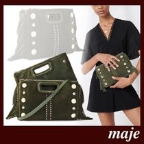 maje Casual Style Suede Studded 2WAY Leather Party Style Fringes
