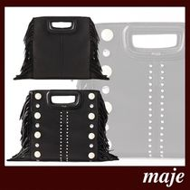 maje Casual Style Studded 2WAY Leather Party Style Fringes