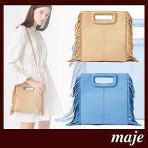 maje Casual Style Lambskin 2WAY Plain Leather Party Style Fringes
