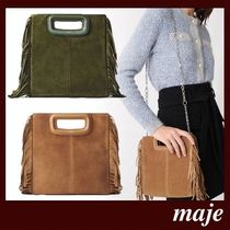 maje Casual Style 2WAY Plain Leather Party Style Fringes