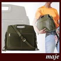 maje Casual Style 3WAY Plain Leather Fringes Office Style