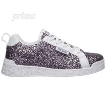 VERSACE JEANS Round Toe Casual Style Street Style Leather Glitter Logo