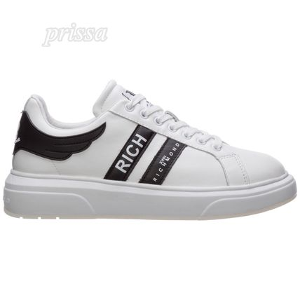 Unisex Street Style Plain Leather Logo Sneakers