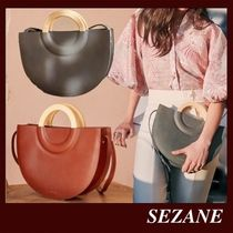 SEZANE Casual Style 2WAY Plain Leather Party Style Office Style