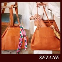 SEZANE Casual Style Plain Leather Party Style Office Style