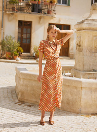 Dots Casual Style Maxi Long Short Sleeves Elegant Style