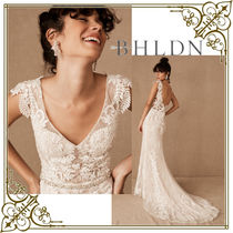 BHLDN Flower Patterns Tight Sleeveless Long Lace Wedding Dresses