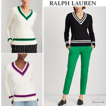 Ralph Lauren Cable Knit Casual Style V-Neck Long Sleeves Cotton Medium