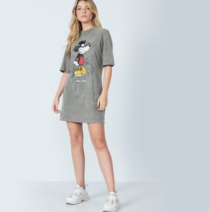 Short Casual Style Street Style U-Neck Collaboration