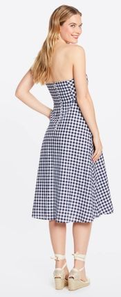 Wrap Dresses Gingham Casual Style A-line Linen Sleeveless
