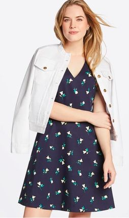 Flower Patterns Casual Style A-line Street Style V-Neck