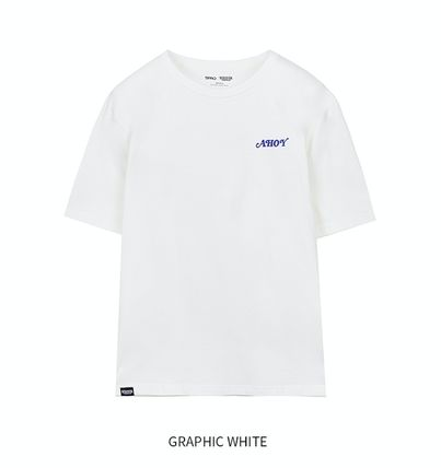 Unisex Street Style U-Neck Collaboration Short Sleeves