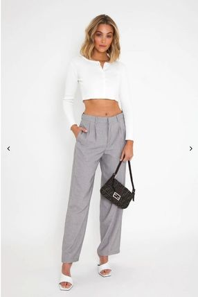 Short Casual Style Long Sleeves Plain Cropped