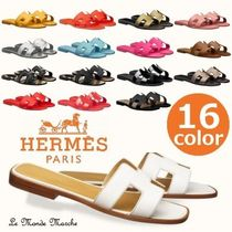 HERMES Open Toe Casual Style Plain Party Style Elegant Style Logo