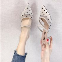 Dots Street Style Pin Heels Elegant Style Mules