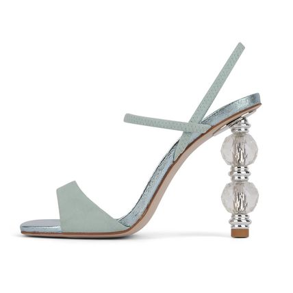 Open Toe Casual Style Plain Elegant Style Heeled Sandals