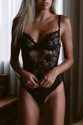 Plain Lace Sheer Lingerie Sets