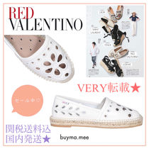 RED VALENTINO Round Toe Rubber Sole Lace-up Casual Style Plain Leather