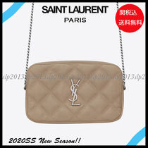 Saint Laurent Casual Style Blended Fabrics Street Style Plain Leather
