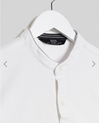 Button-down Plain Cotton Short Sleeves Shirts