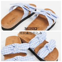 MONKI Gingham Open Toe Casual Style Street Style Plain