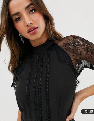 Plain Short Sleeves Party Style High-Neck Lace Elegant Style