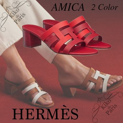 HERMES Amica Casual Style Plain Leather Block Heels Office Style