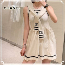 CHANEL Crew Neck Short Casual Style Sleeveless Flared Bi-color