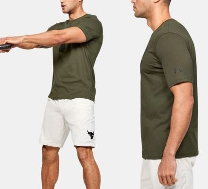 Street Style Plain Cotton Short Sleeves Workout T-Shirts